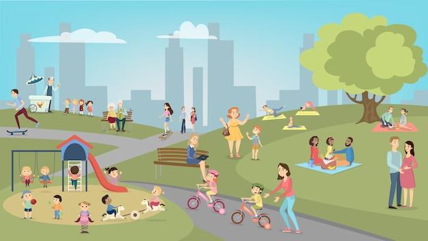 Mensen in park met plezier en rust. kinderen en tieners, volwassenen en senioren.