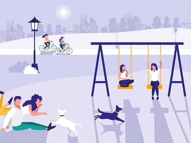 Mensen in park met speelplaats