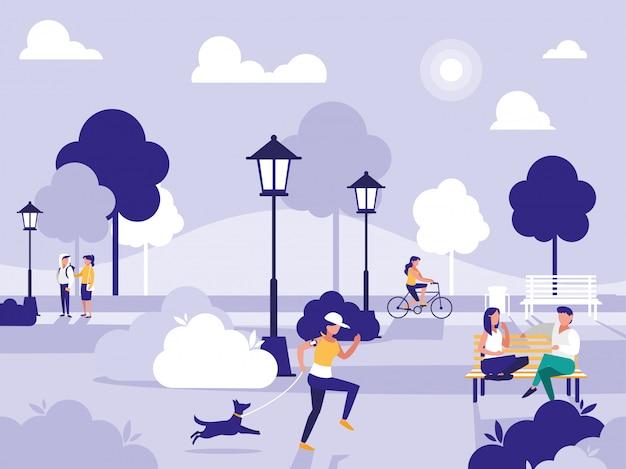 Mensen in park met stoelen en lampen