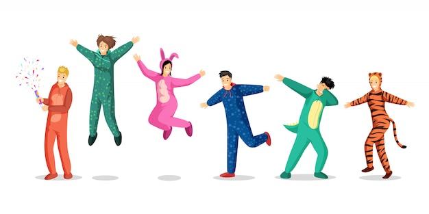 Mensen in pyjama's geplaatste illustraties. gelukkige tienermeisjes en jongens in kleurrijke kostuums, kinderen in grappige pyjama stripfiguren. slaapfeest, overnachting, sleepover ontwerpelementen