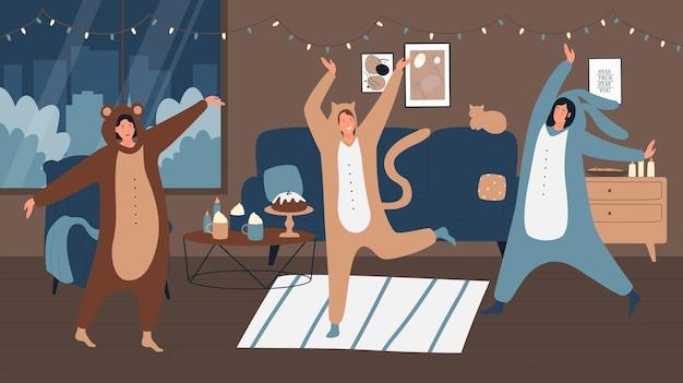 Mensen in pyjama's hebben een feestje thuis illustratie