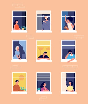 Mensen in ramen. buitenkant van het huis, begroeting van de buren. zelfisolatie periode, vrouwen mannen in condo buurt vectorillustratie. exterieur residentiële ramen met mensen buurt