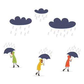 Mensen in regenjassen lopen bij regenachtig weer onder paraplu's. wolken met regen. mensen hebben haast. moderne platte vectorillustratie
