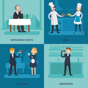 Mensen in restaurant square concept