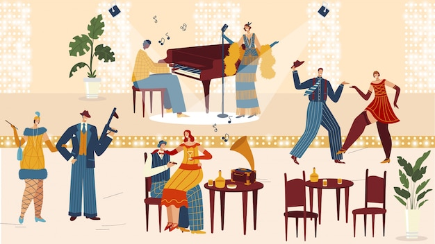 Mensen in retro restaurant, vintage feest in art decostijl, stripfiguren dansen, illustratie