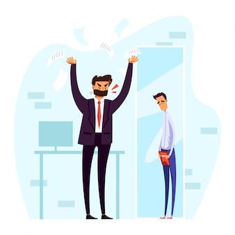 Mensen in ruzie illustratie, cartoon boos officemanager karakter schreeuwen tegen trieste man voor slecht werk op wit
