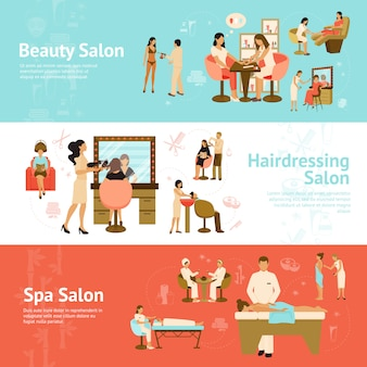 Mensen in schoonheid en spa salon horizontale banners