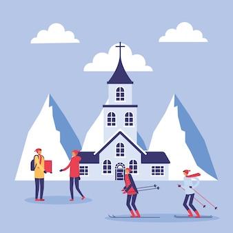 Mensen in snowscape oefenen activiteiten uit