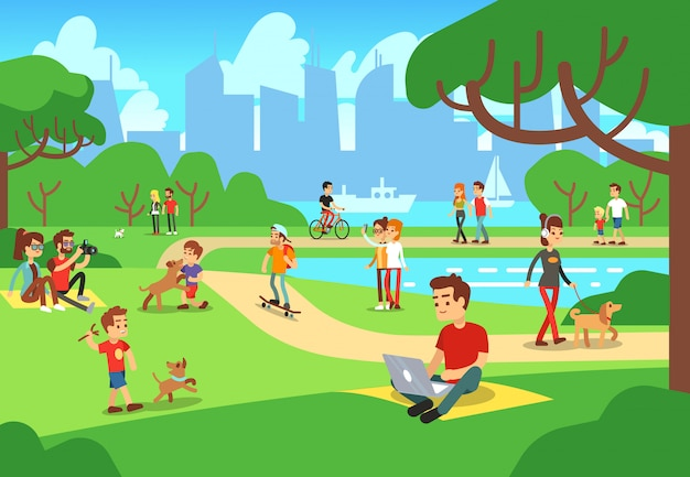 Mensen in stadspark. ontspannen mannen en vrouwen openlucht met smartphonesillustratie