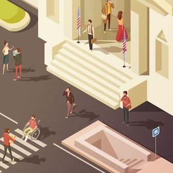 Mensen in straat dichtbij overheid die isometrische vectorillustratie bouwen