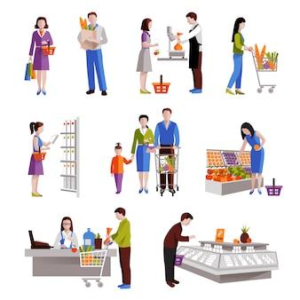 Mensen in supermarkt die kruidenierswinkelproducten kopen