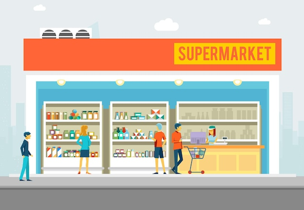 Mensen in supermarkt illustratie. grote winkel met producten.