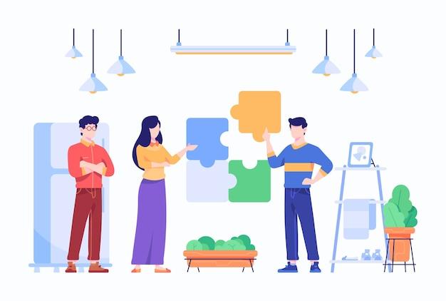 Mensen in teamwerk bouwen samen een strategie om het concept van het puzzelprobleem op te lossen