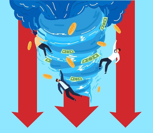 Mensen in tornado geld vectorillustratie. platte zakenman stripfiguren vliegen met papiergeld munt, destructieve zakelijke windtrechter of wervelwind blazen valuta