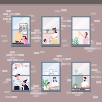 Mensen in verschillende appartementen ramen egale kleur illustratie. ochtend routine. man eet ontbijt. vrouw opruimen. zelf geïsoleerde familieleden 2d stripfiguren met interieur op achtergrond