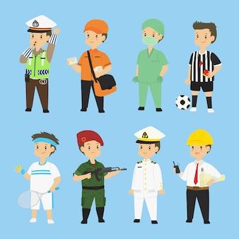 Mensen in verschillende beroepen vector set