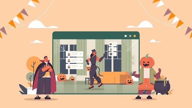 Mensen in verschillende kostuums bespreken tijdens videogesprek happy halloween vakantie viering zelfisolatie online horizontale volle lengte vectorillustratie