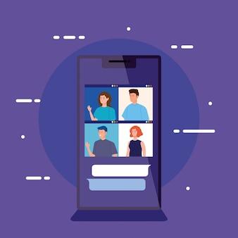 Mensen in videoconferentie in smartphone