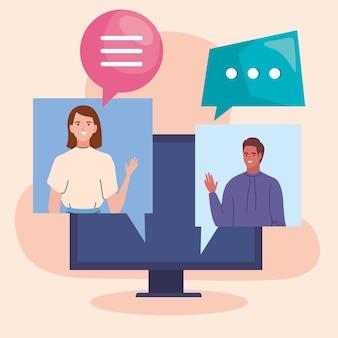 Mensen in videoconferentie