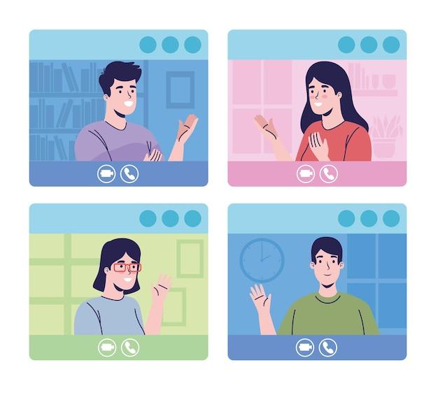 Mensen in videoconferentiekarakters
