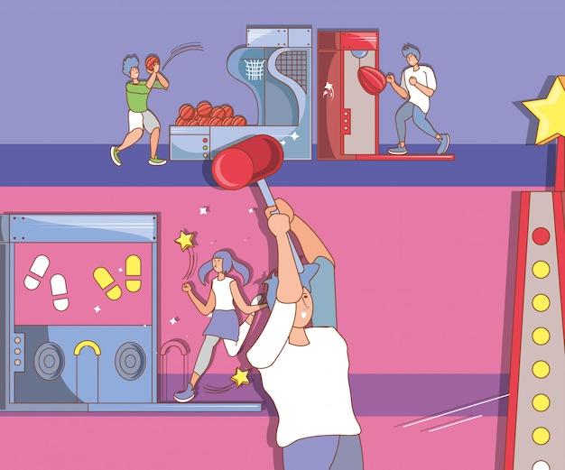 Mensen in videogameconsole van munten met basketbalballonnen
