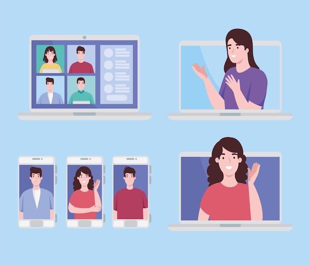 Mensen in virtuele conferentie