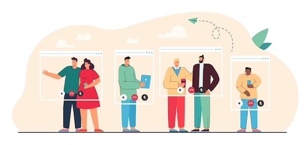 Mensen in virtuele raamkozijnen met een videogesprek. onlinevergadering vlakke afbeelding. externe baan, online conferentie, videogesprekconcept