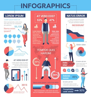 Mensen infographics - info poster, brochure voorbladsjabloon lay-out met pictogrammen, andere informatie-elementen en opvultekst