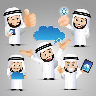 Mensen instellen arabische computermannen blauwe wolk