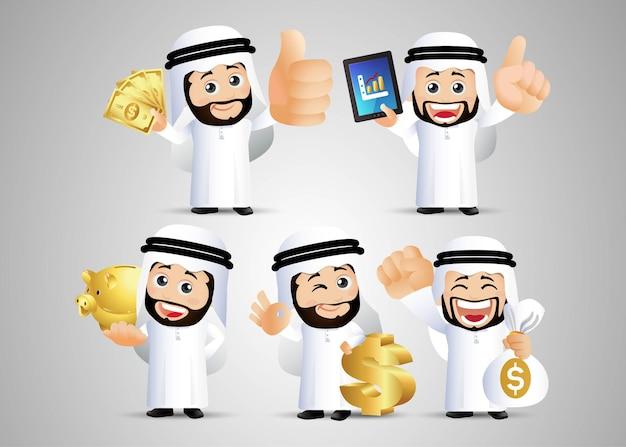 Mensen instellen arabische kantoor man financiën set goud