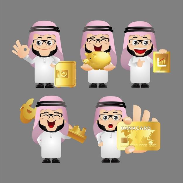 Mensen instellen. arabische zakenmensen.