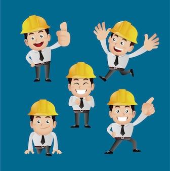 Mensen instellen beroepsingenieur met verschillende poses
