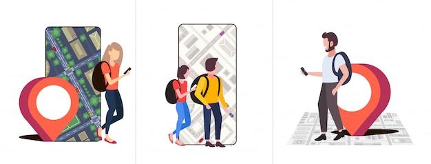Mensen instellen met behulp van navigatie-app met locatiemarkering gps-positie op stadsplattegrond met gebouwen en straten reisconcepten collectie stadsgezicht tophoek weergave volledige lengte horizontaal