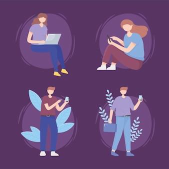 Mensen instellen met digitale gadgettechnologie en 5g-generatie internetillustratie
