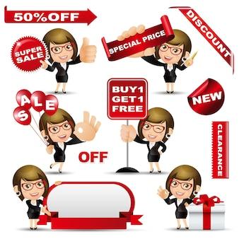 Mensen instellen winkelen vrouw met verkoop ontwerpset