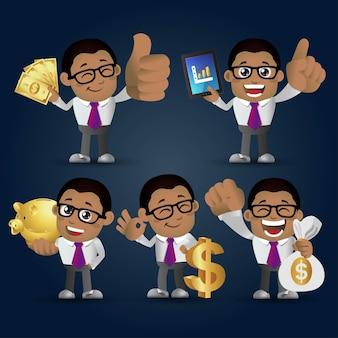 Mensen instellen zakelijke afrikaanse zakenman set