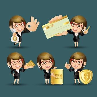 Mensen instellen zakelijke zakenvrouw financiën set