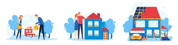 Mensen investeren in het bouwen van een huisillustratieset.