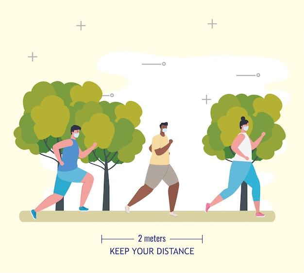 Mensen joggen en afstand houden op coronavirus covid 19