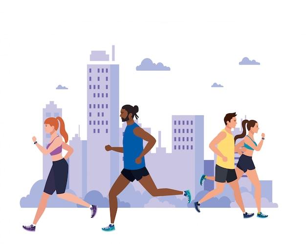 Mensen joggen met stadsgezicht, mensen lopen buiten, mensen in sportkleding joggen