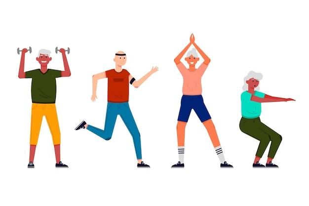 Mensen jong van hart doen verschillende sportactiviteiten
