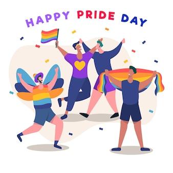 Mensen juichen op trots dag