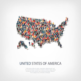 Mensen kaart land amerika vs.