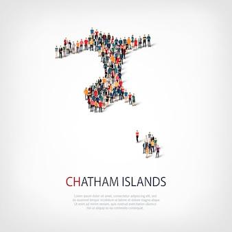 Mensen kaart land chatham-eilanden