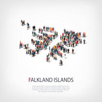 Mensen kaart land falkland eilanden
