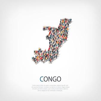 Mensen, kaart van de republiek congo. menigte die een landvorm vormt.