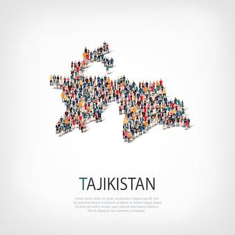 Mensen, kaart van tadzjikistan. menigte die een landvorm vormt.