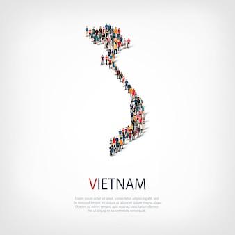 Mensen, kaart van vietnam. menigte die een landvorm vormt.