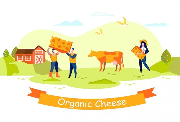Mensen kaasfabriek. de koe weidt op weide. boerderij.