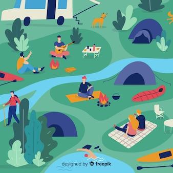 Mensen kamperen in de natuur
